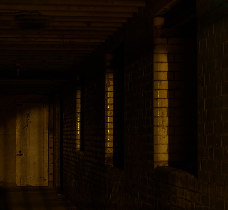 Picture of a dark and sinister corridor leading to a dilapidated door