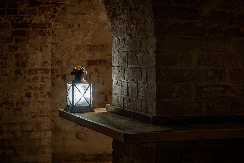 Picture of a lantern shining in the cellars at Copped Hall in Essex