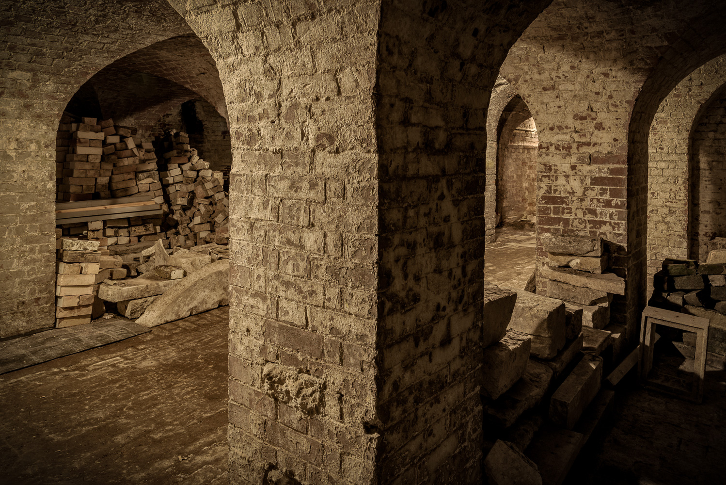 Picture of brick built pillars and vaulted ceilings in the cellars at Copped Hall