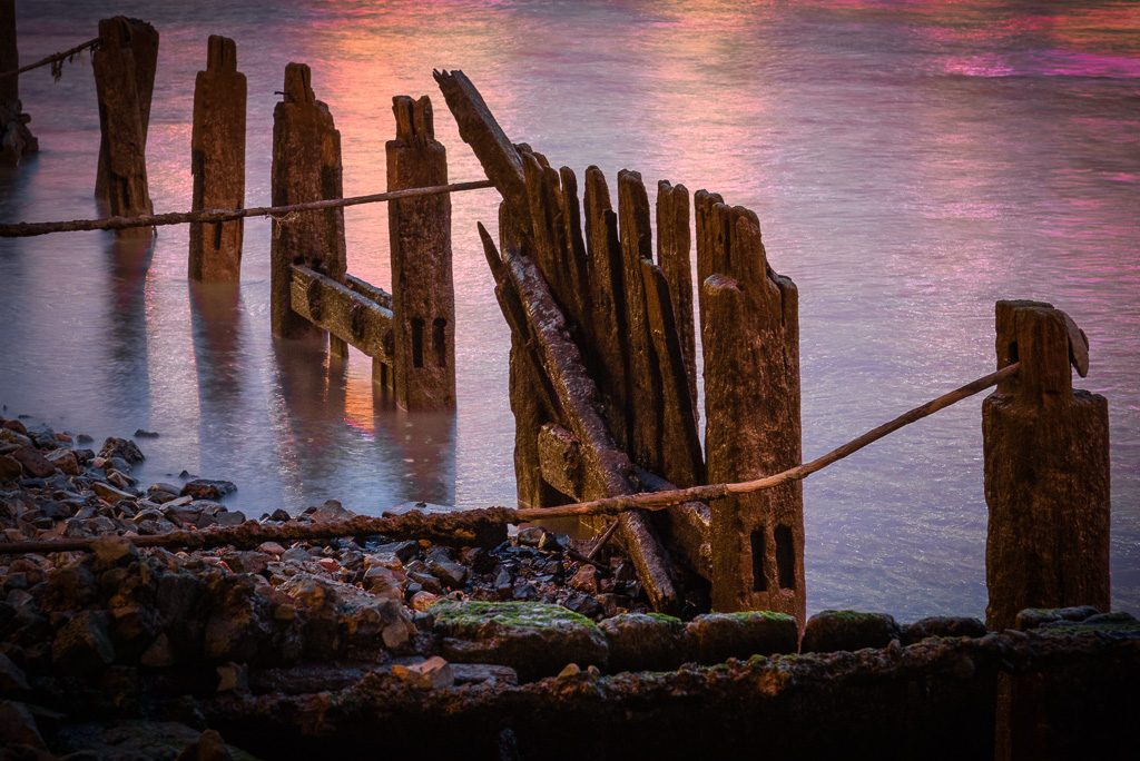 Wooden stakes by the River Thames