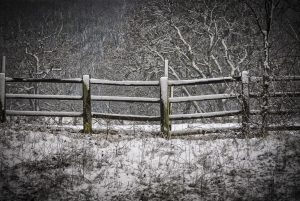 Snow covered fence recovered