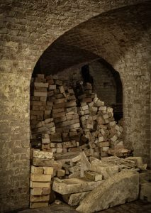 Piles of bricks being used to restore Copped Hall Cellars