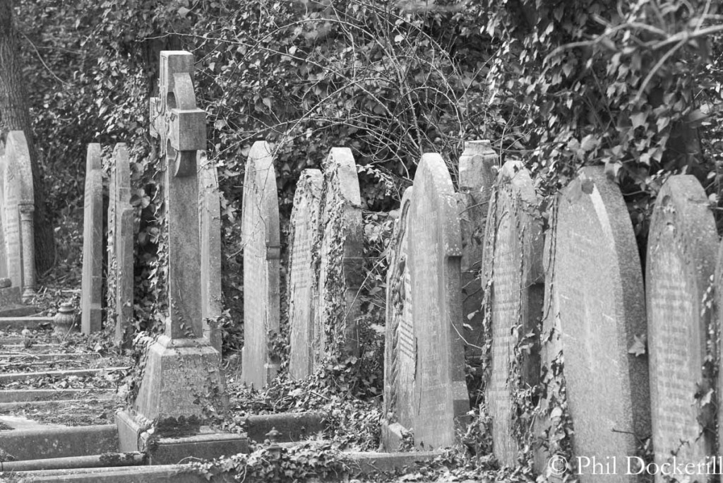 Row of headstones in Highgate Cemetery
