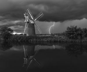 Turf Fen with lightning - mono before city lights cloned out