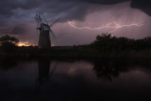 Cloud to air lightning near Turf Fen Wind Pump